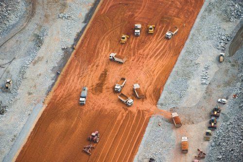 Vista aérea de la construcción de la presa de Belo Monte.