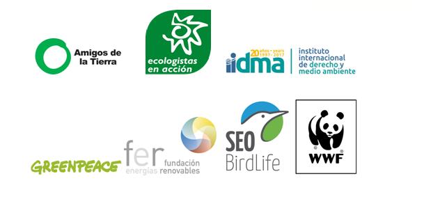 Logotipos de las organizaciones que componen la plataforma Europa Más allá del carbón: Amigos de la Tierra, Ecologistas en Acción, iidma, Greenpeace, fundación energías renovables, Seo/BirdLife y WWF