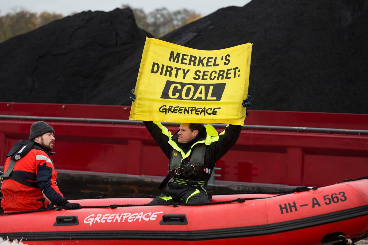 Protesta de Greenpeace en Alemania contra la quema de carbón