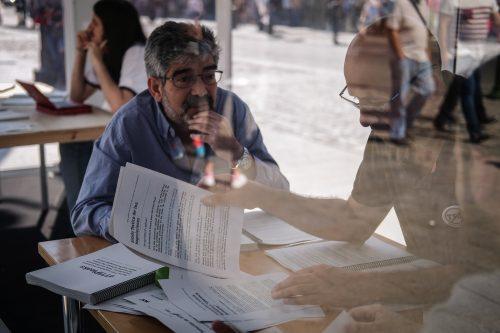 Sala de lectura TTIP de Greenpeace en la Puerta del Sol