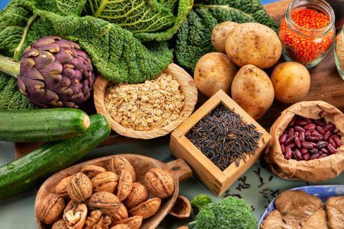 foto con frutas e ingredientes sanos