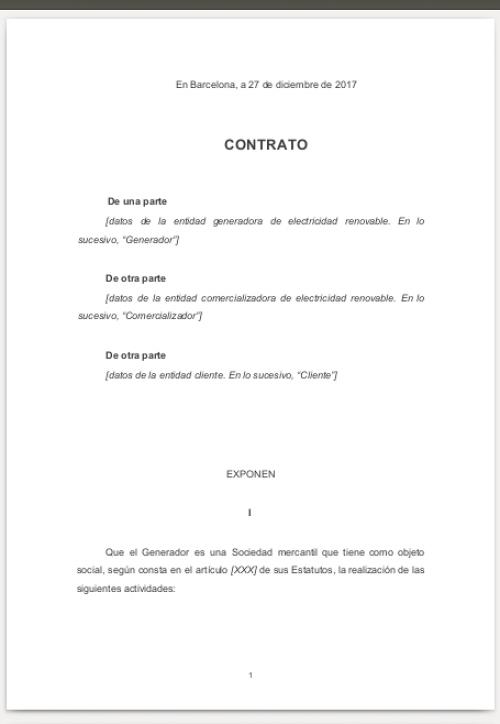 Contrato genérico precompra electricidad renovable