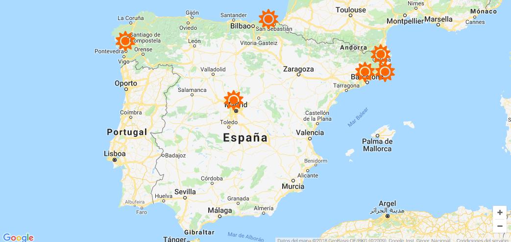Mapa de iniciativas de energía ciudadana de España.