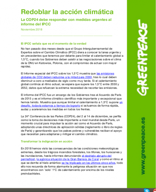 Redoblar la acción climática.  La COP24 debe responder con medidas urgentes al informe del IPCC