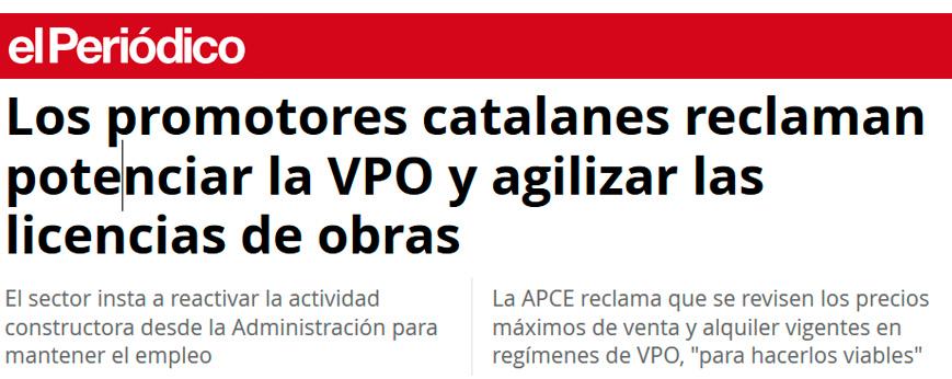 Los promotores catalanes reclaman potenciar la VPO y agilizar las licencias de obras
