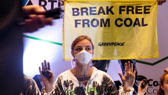 Acción Greenpeace contra el carbón en Barcelona