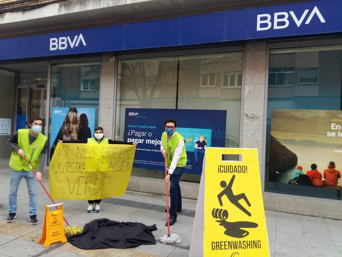 Protesta en Valladolid en el BBVA