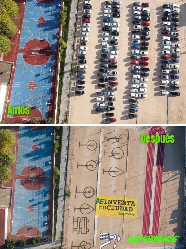 Fotos del espacio que corresponden al colegio Juan Zaragüeta, pero que se ha estado utilizando como parking desde 2020.